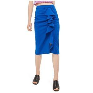 TopShop • cobalt blue ruffled pencil skirt